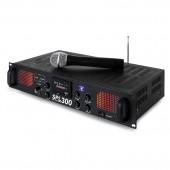 Плеър с Усилвател и Безжичен Микрофон SPL 300VHF-MP3 blue LED+EQ BLK 2x150W 4Ohm