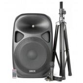 """Активна Тонколона 15""""  SPS152 комплект със стойка, динамичен вокален кабелен микрофон, дистанционно SD/USB/MP3/BT"""